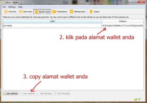 cara mendapatkan alamat Latium Wallet anda