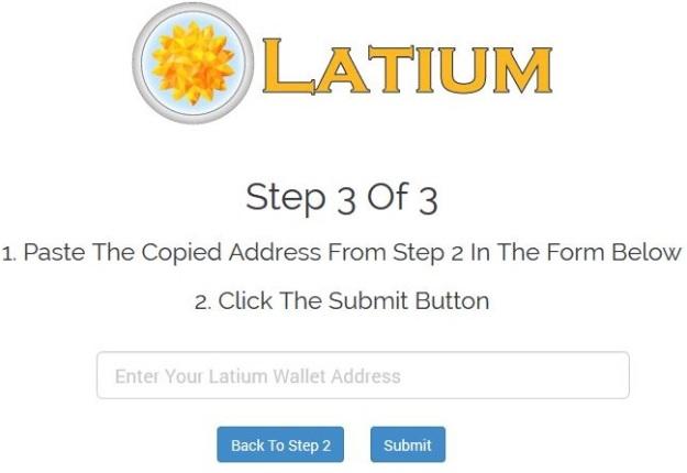 cara masukkan alamat Latium Wallet anda