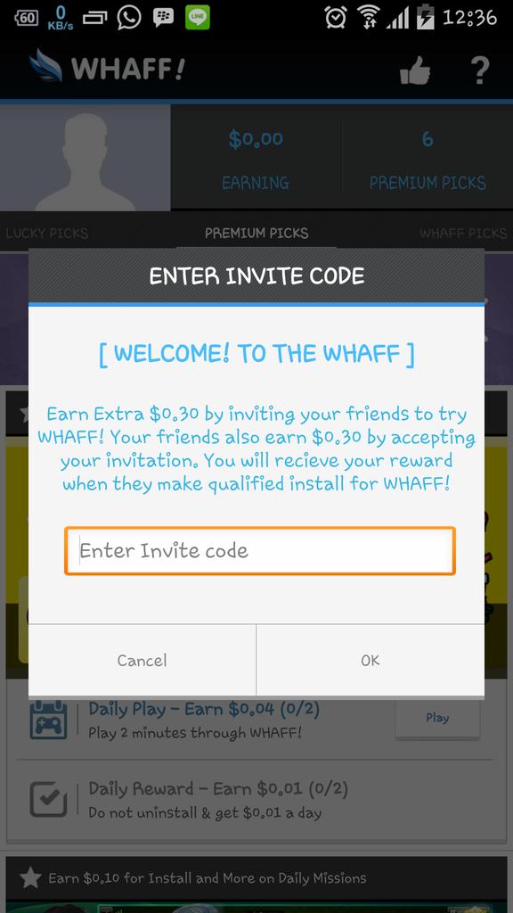 use whaff code AC52519 to get welcome bonus