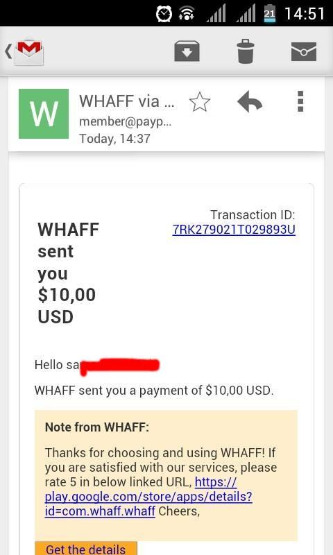 WHAFF : Mendapatkan Uang Dengan Handphone   Dunia internet