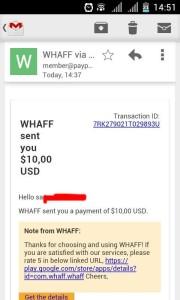 bukti pembayaran dari whaff