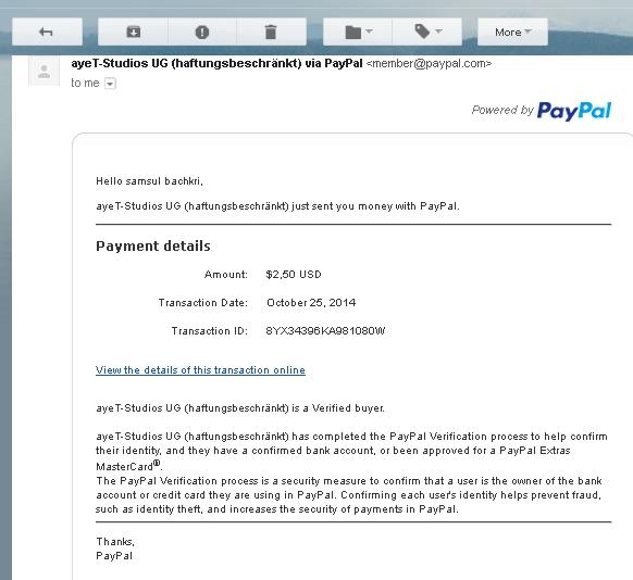 pembayaran dari cashpirate ke paypal