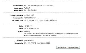 bukti penarikan uang dari PayPal ke Bank di Indonesia