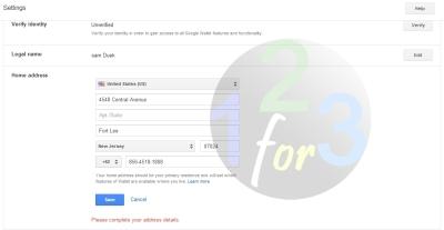 setting alamat US google wallet